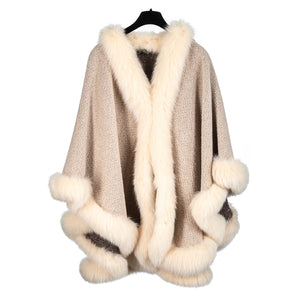 Cream Alpaca Cape with Light Fox Trim