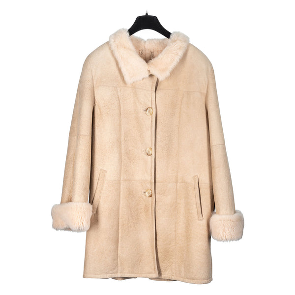 Ivory Shearling Car Coat