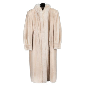 Blush Mink Coat with Fox Trim