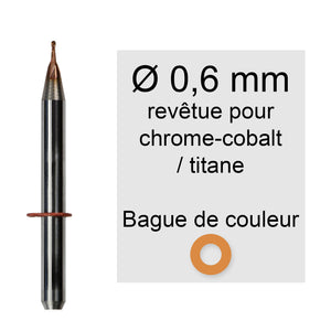 Rotatifs 0,6 mm pour machine vhf k5 / s2 / r5 / s1 application chrome cobalt titane