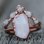 Pink Opal and Diamond Bridal Set