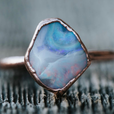 READY TO SHIP - Australian Boulder Opal Ring - US SIZE 5.5 - ROSE GOLD PLATED