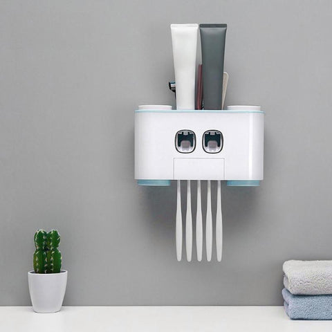 Image of All-in-One Toothbrush Holder & Toothpaste Dispenser