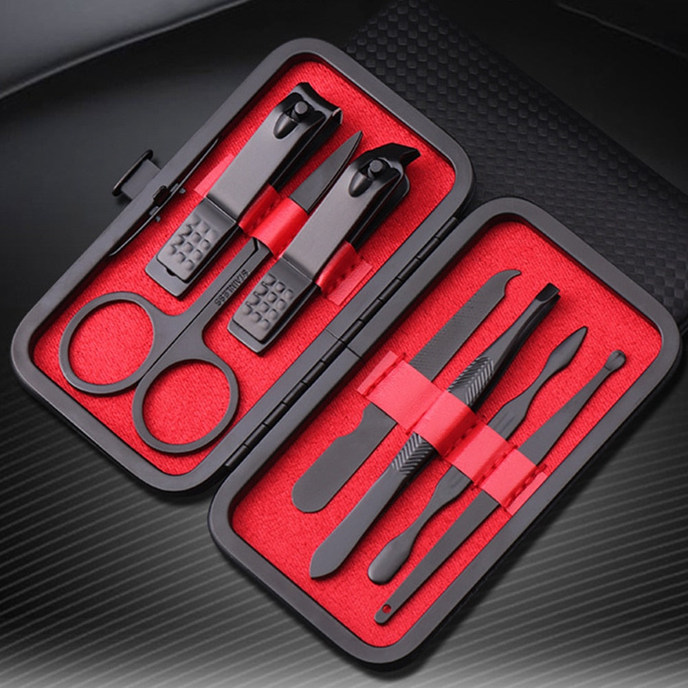 Men's 7 Piece Black Stainless Steel Manicure Set