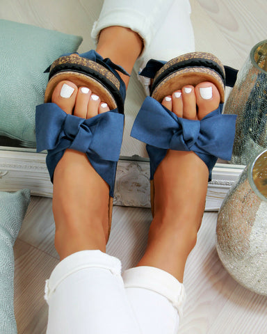 Woman's Summer Slip On Sandals w/ Bow Tie Accent