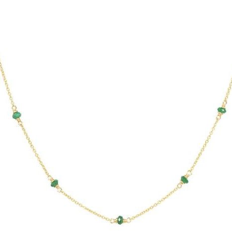 Genuine Emerald Beaded Necklace, handmade in 14k Gold Filled, Nickel Free