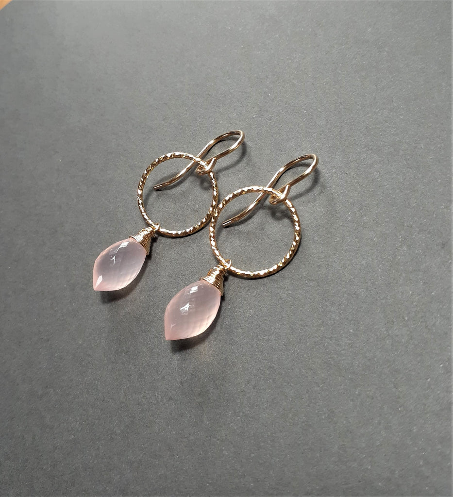 Pink Chalcedony Hoop Earrings - Worn on Jane the Virgin