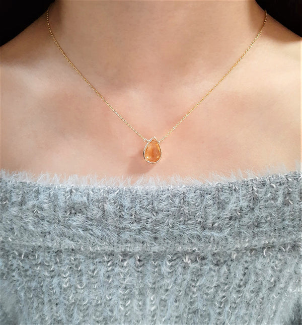 Golden Citrine Pear Briolette Pendant Necklace