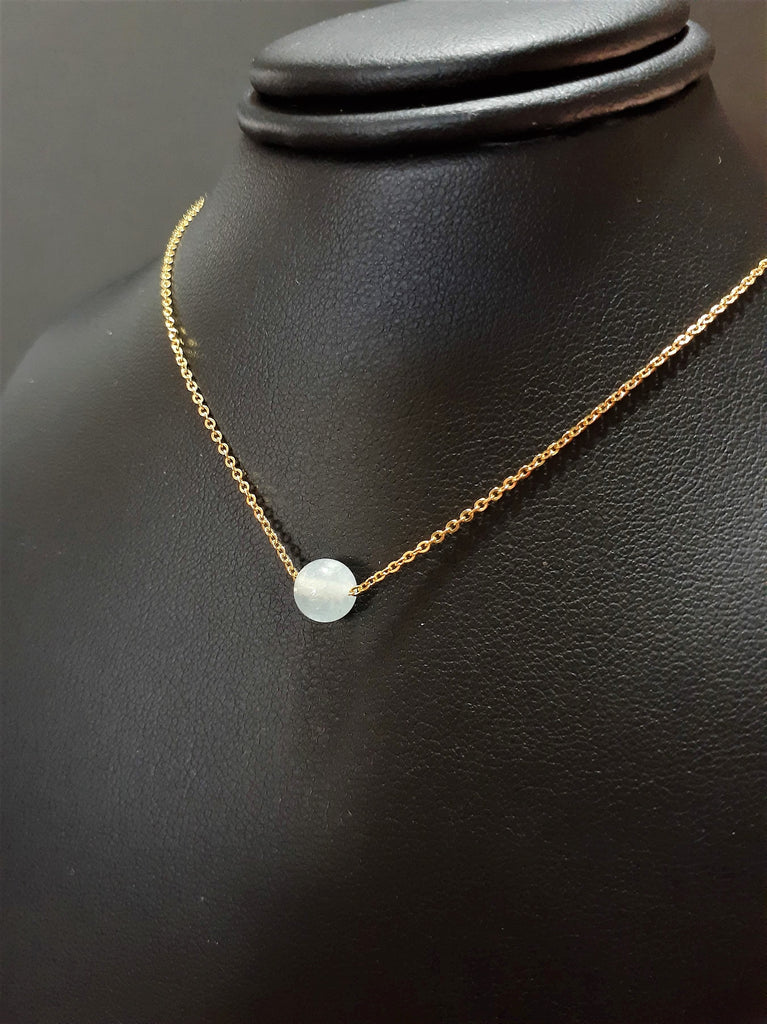 Dainty Aquamarine Floating Necklace