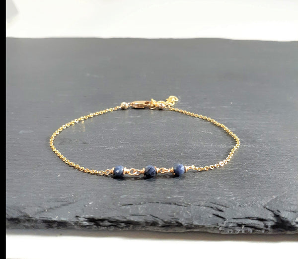 Dainty Blue Sapphire Anklet