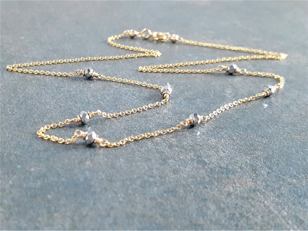 Worn on Riverdale - Beaded Silver Pyrite Necklace - Two Toned Necklace
