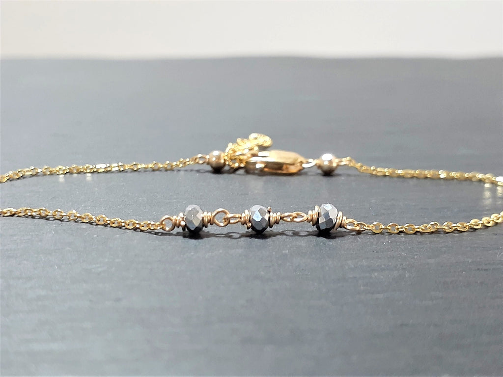 Two Toned Anklet - Silver Pyrite Anklet