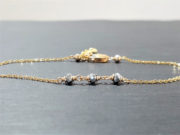 Dainty Two Toned Anklet - Silver Pyrite Anklet