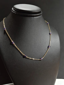 Purple Amethyst Necklace - February Birthstone - Handmade Jewelry - 14k Gold Filled