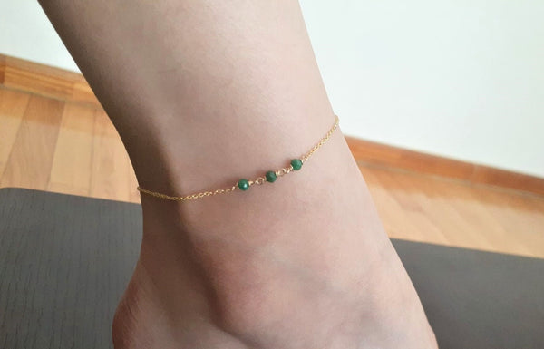 Dainty Emerald Anklet