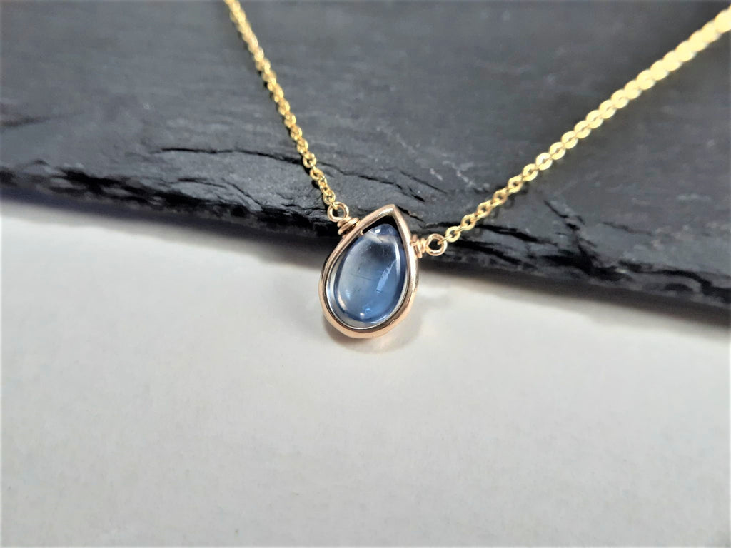 Kyanite Pear Shape Pendant Necklace