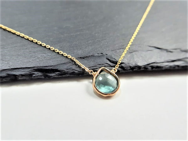 Teal Fluorite Heart Briolette Pendant Necklace
