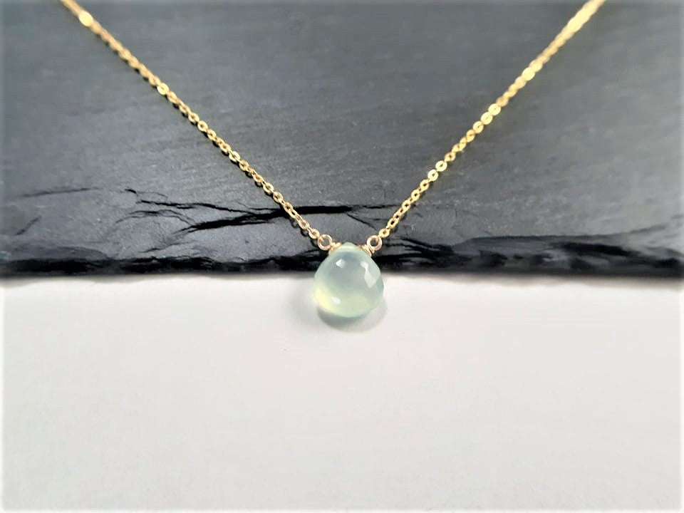 Aqua Chalcedony Heart Briolette Necklace