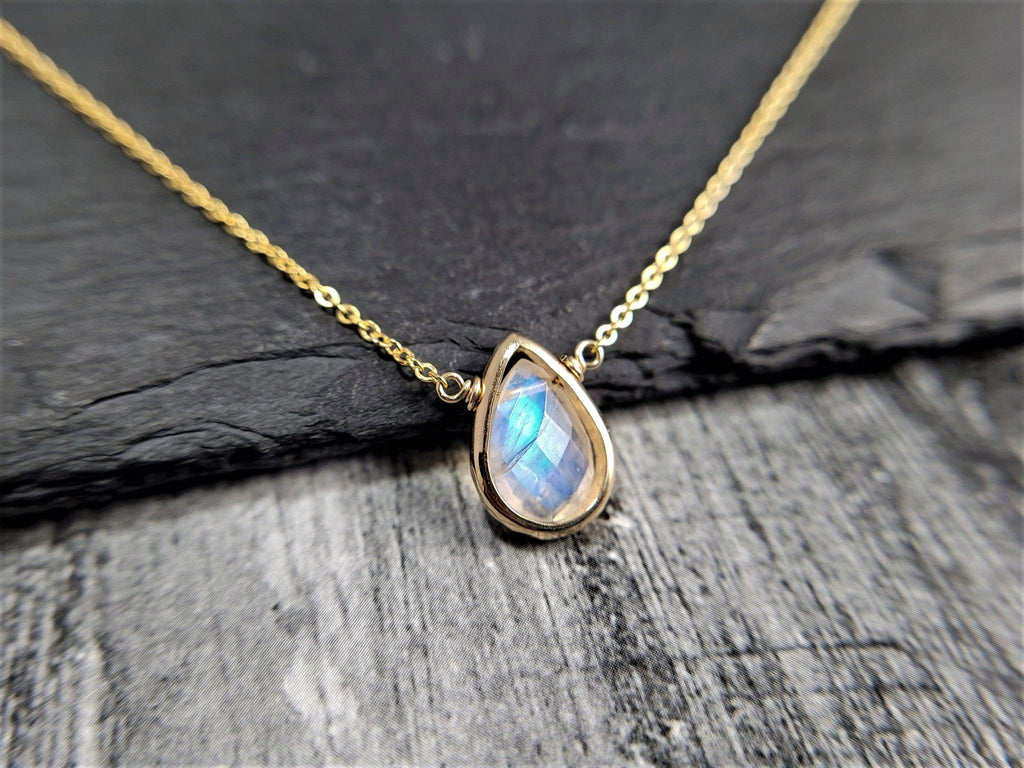 Rainbow Moonstone Pear Briolette Necklace