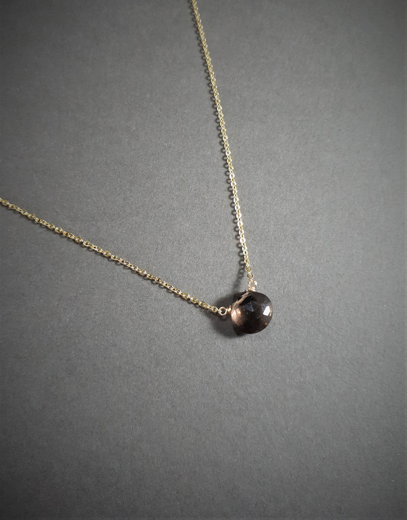 Dainty Smoky Quartz Necklace - Handmade Jewelry - 14k Gold Filled or Sterling Silver