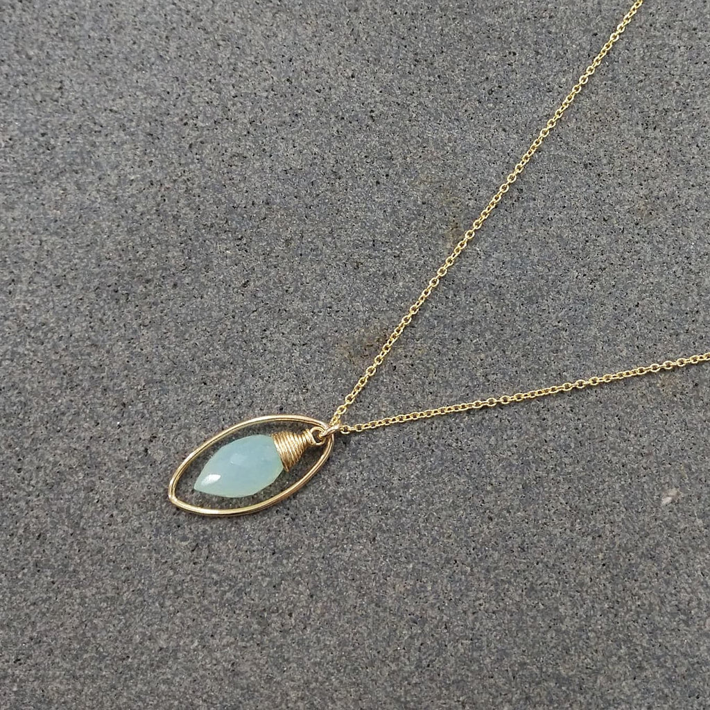 Aqua Chalcedony Necklace, Worn on The Fosters / Handmade Jewelry / Layered Necklace, Everyday Necklace / Simple Gold Necklace / Dainty Delicate Minimal (image 2)