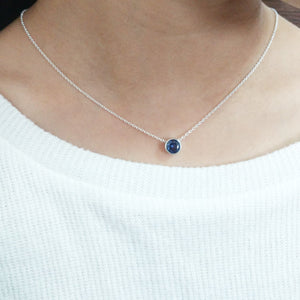 Tanzanite Floating Necklace, December Birthstone / Handmade Jewelry / 14k Gold Filled or Sterling Silver Chain / Simple Dainty Minimal - model - (image 4)