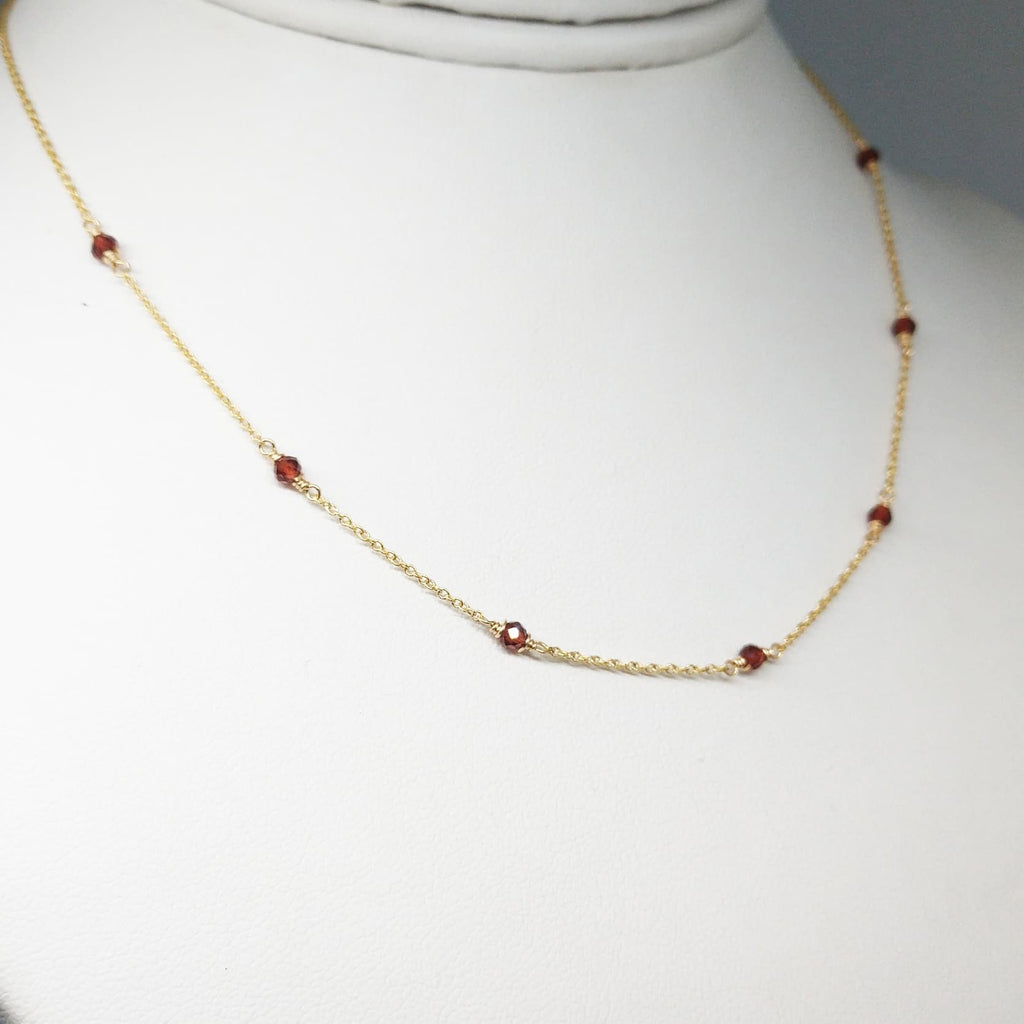 Genuine Garnet Choker Necklace - 14k Gold Filled or Sterling Silver - January Birthstone - Handmade Jewelry
