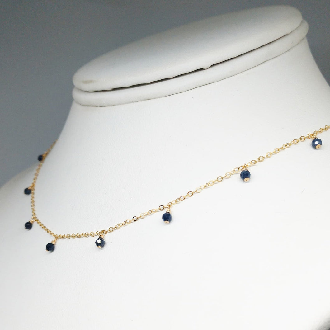Natural Blue Sapphire Dainty Choker Necklace - September Birthstone - 14k Gold Filled (image 1)