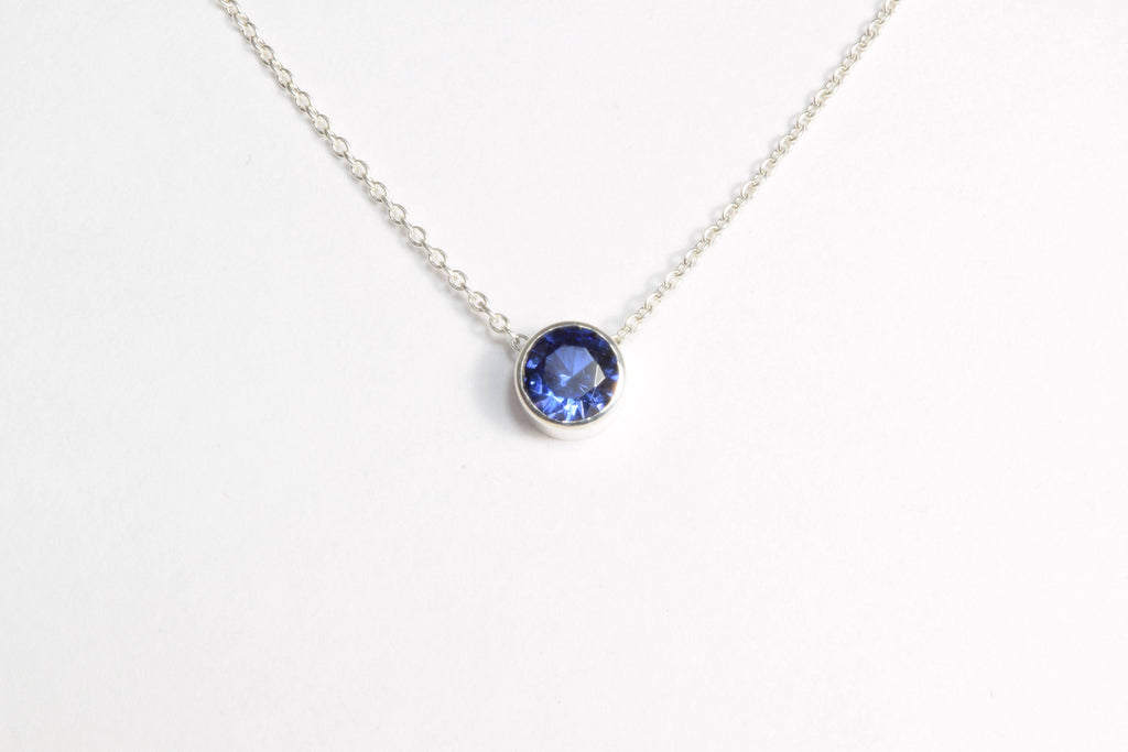 Tanzanite Floating Necklace, December Birthstone / Handmade Jewelry / 14k Gold Filled or Sterling Silver Chain / Simple Dainty Minimal (3)