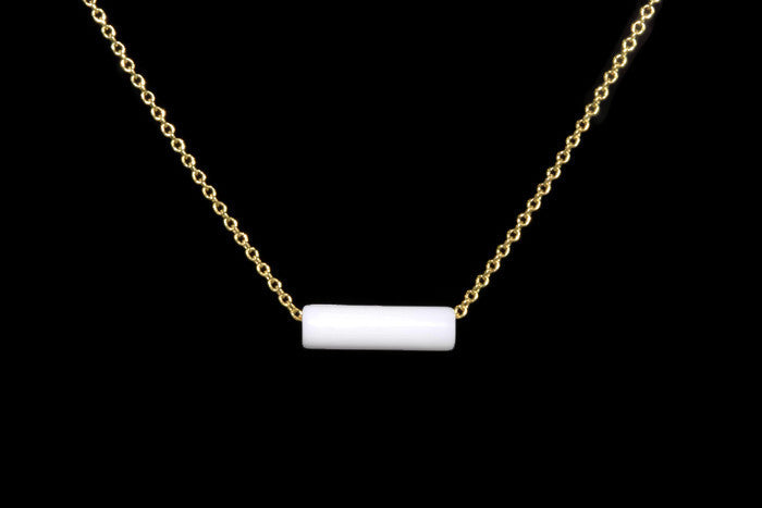 White Agate Fidget Necklace - Handmade in 14k Gold Filled or Sterling Silver