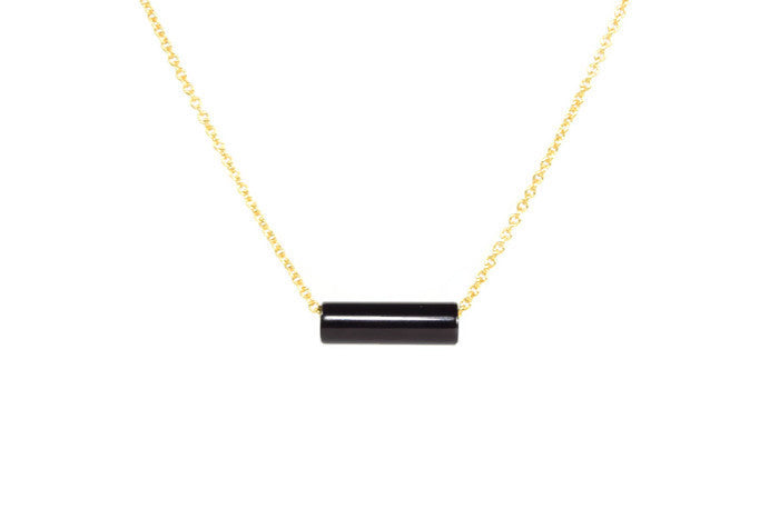 Onyx Fidget Necklace - Handmade Jewelry - 14k Gold Filled or Sterling Silver