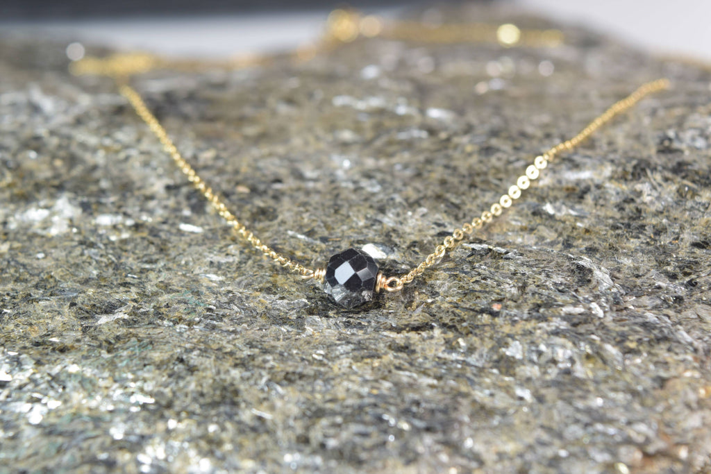 Genuine Black Diamond Necklace - April Birthstone - Choice of 14k Gold Filled or Sterling Silver