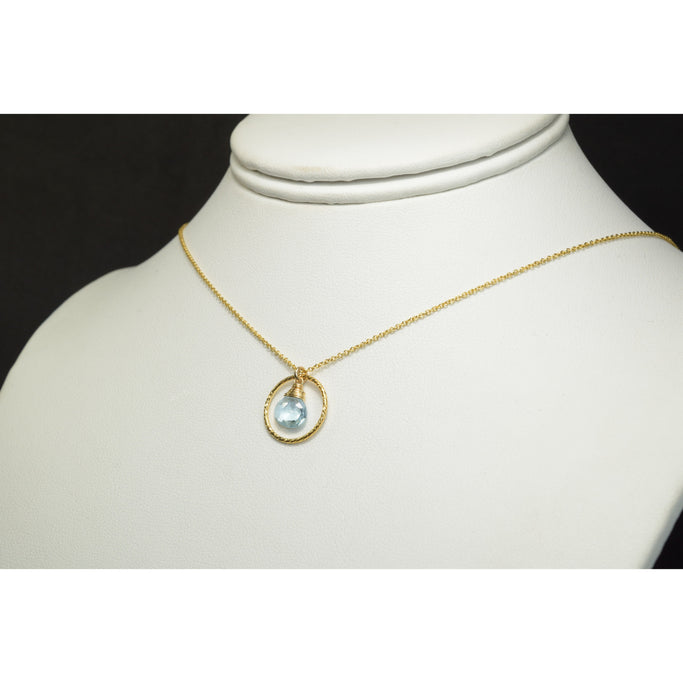 "Natural Aquamarine Necklace - March Birthstone - 14k Gold Filled - Worn on ""Prince of Peoria"""