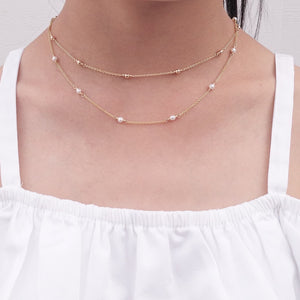 Genuine Freshwater Pearl Necklace - 14k Gold Filled - June Birthstone (image 2)