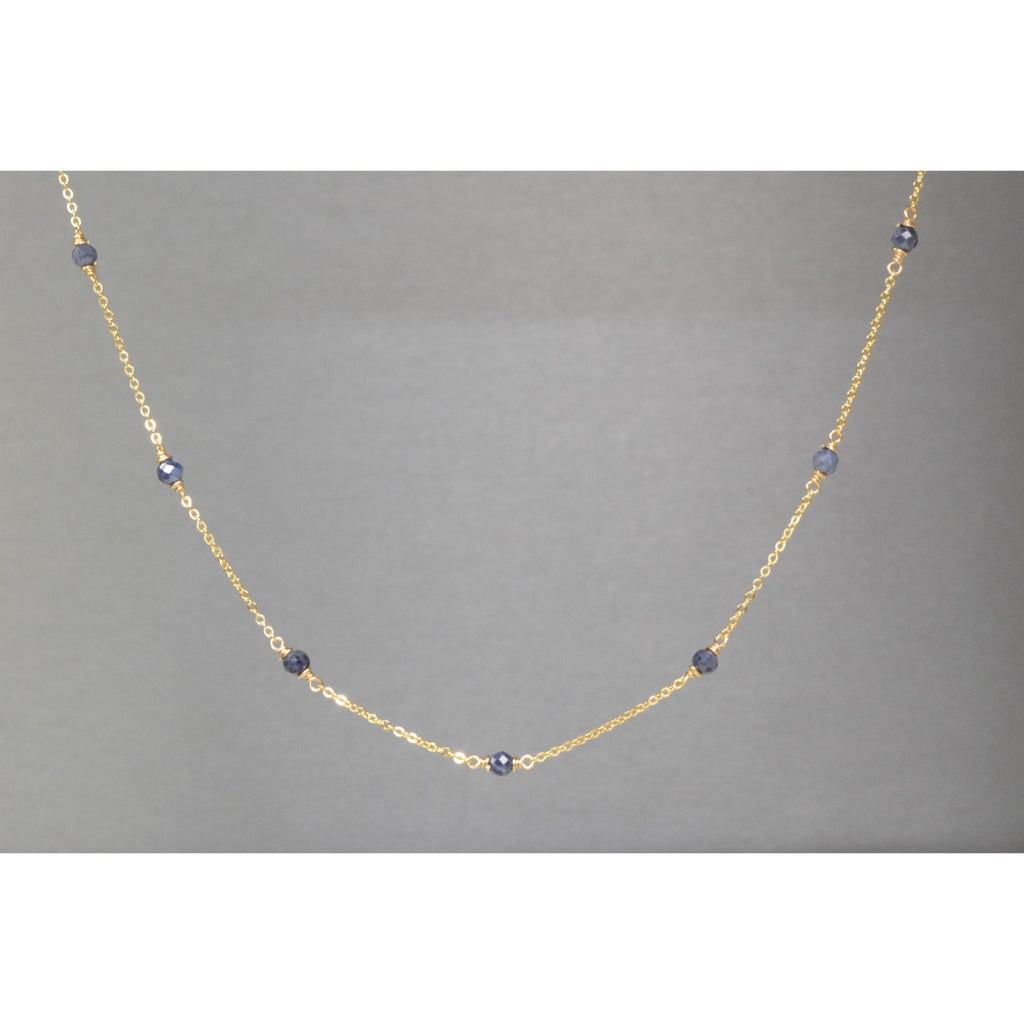 Genuine Blue Sapphire Dainty Choker Necklace - September Birthstone - 14k Gold Filled or Sterling Silver - Handmade Jewelry