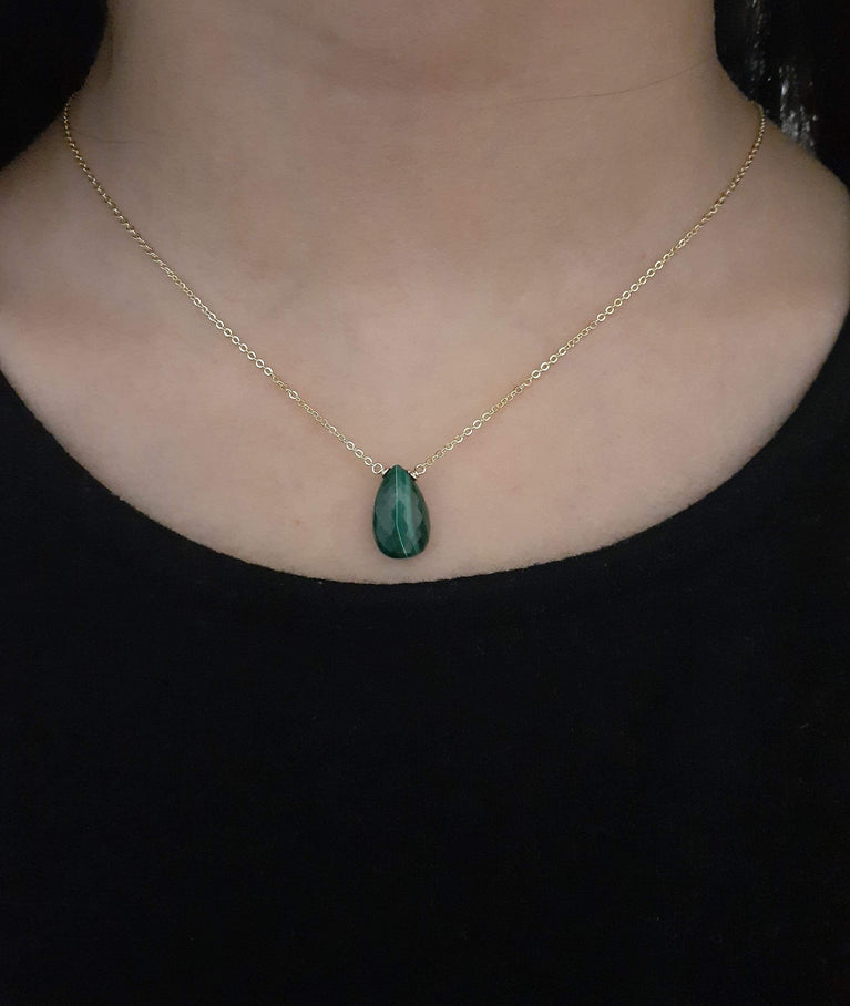 Dainty Malachite Necklace - Handmade in 14k Gold Filled or Sterling Silver (Image 4)