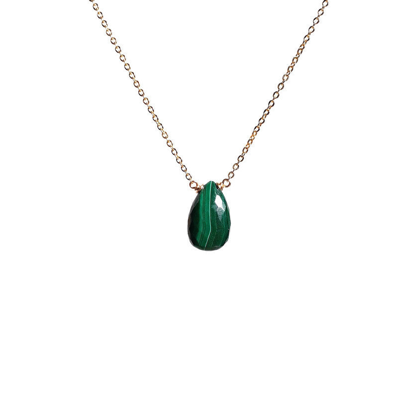 Dainty Malachite Necklace - Handmade in 14k Gold Filled or Sterling Silver (Image 2)