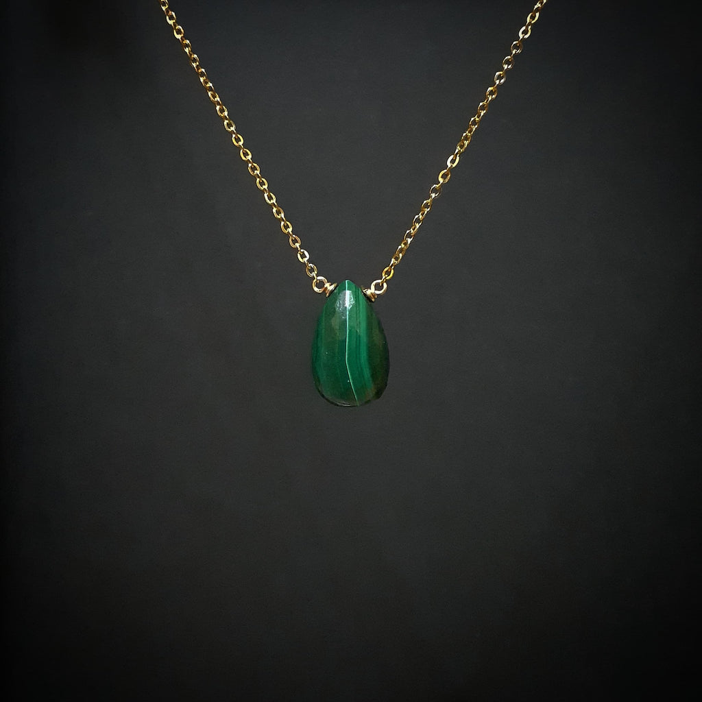 Dainty Malachite Necklace - Handmade in 14k Gold Filled or Sterling Silver (Image 3)