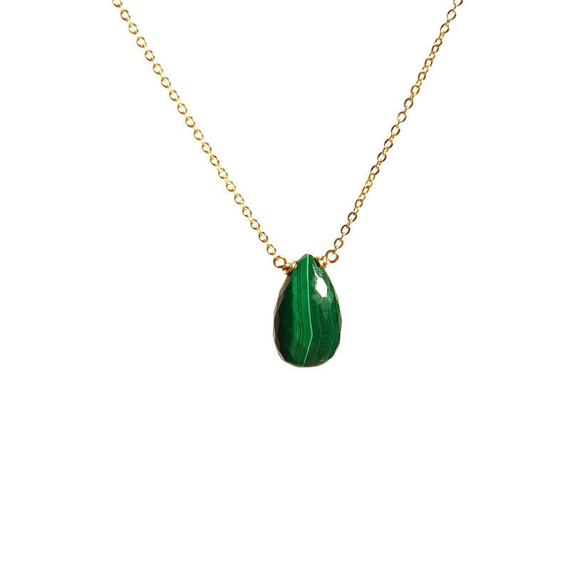 Dainty Malachite Necklace - Handmade in 14k Gold Filled or Sterling Silver (Image 1)