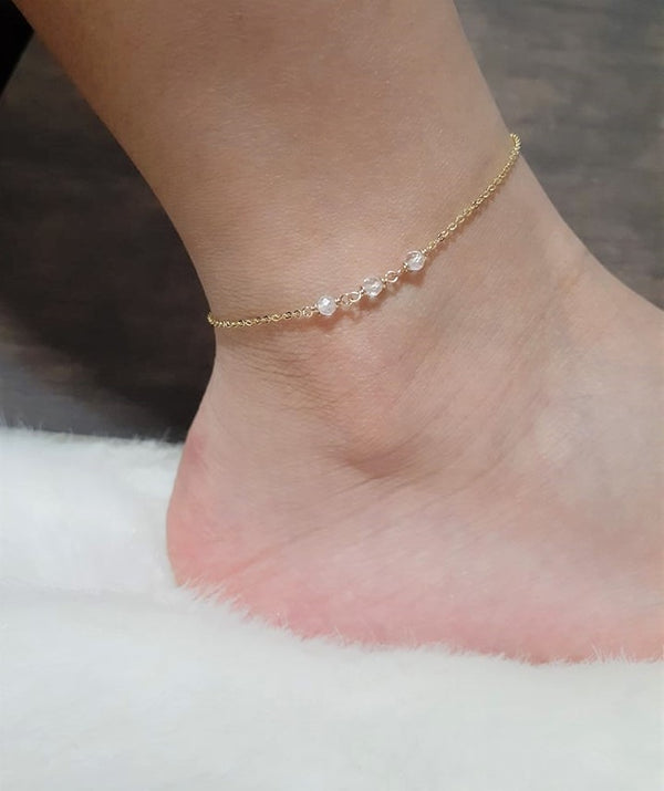 Rainbow Moonstone Anklet, June Birthstone / Handmade Jewelry / 14k Gold Filled