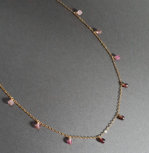 Pink Tourmaline Ombre Necklace, October Birthstone - 14k Gold Filled - Handmade Jewelry