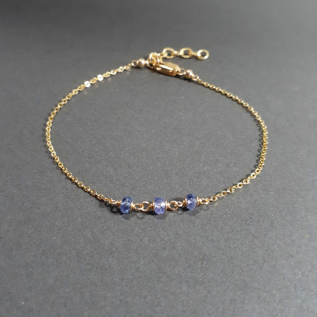Genuine Tanzanite Bracelet, December Birthstone - Handmade Jewelry - 14k Gold Filled
