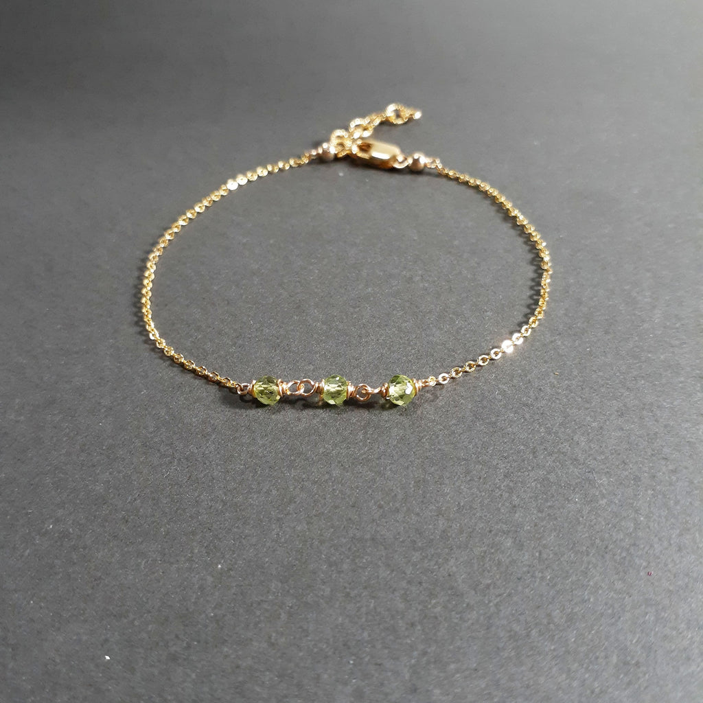 Dainty Peridot Bracelet, August Birthstone - Handmade Jewelry - 14k Gold Filled