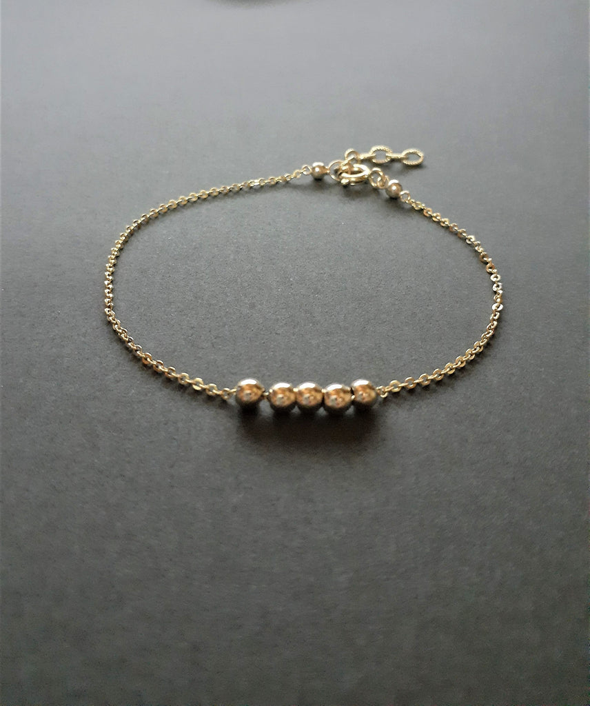 Gold Beaded Bracelet, Fidget Bracelet / Handmade Jewelry / 14k Gold Filled