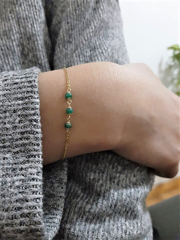 Genuine Emerald Bracelet - May Birthstone - Handmade Jewelry - 14k Gold Filled