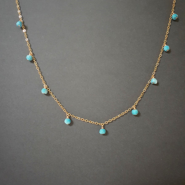 Sleeping Beauty Turquoise Drop Choker Necklace - Worn on Fuller House
