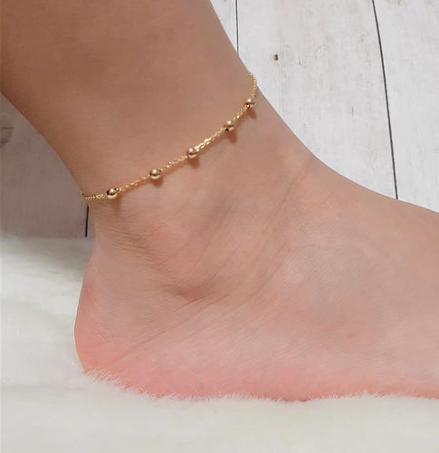 14k Gold Filled Beaded Anklet - Handmade Jewelry