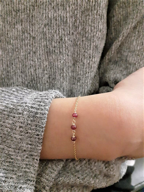 Genuine Ruby Bracelet - July Birthstone - Handmade Jewelry - 14k Gold Filled