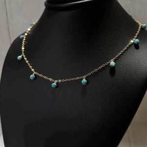 Genuine Sleeping Beauty Turquoise Necklace, December Birthstone, 14k Gold Filled - Worn on Fuller House - Handmade Jewelry