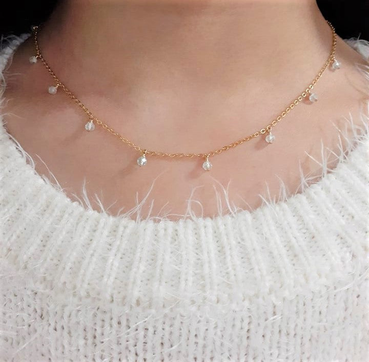 Aquamarine Drop Choker Necklace